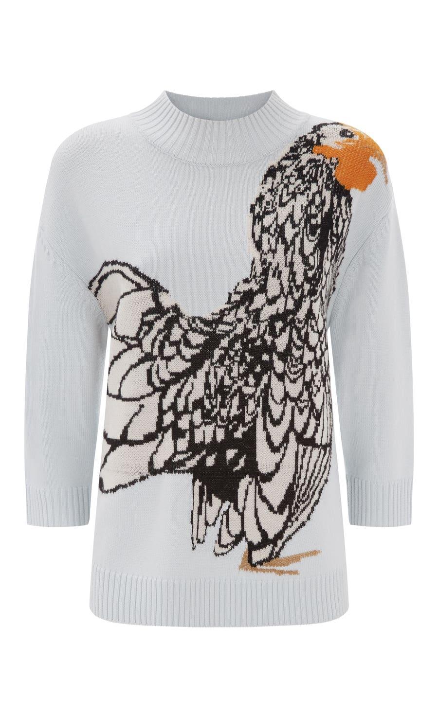 Bird Jacquard Knit Jumper, Frost Mix