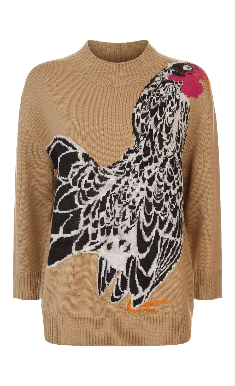 Bird Jacquard Knit Jumper, Flax Mix