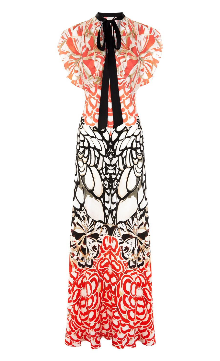 Blaze Printed Long Dress, Black Mix