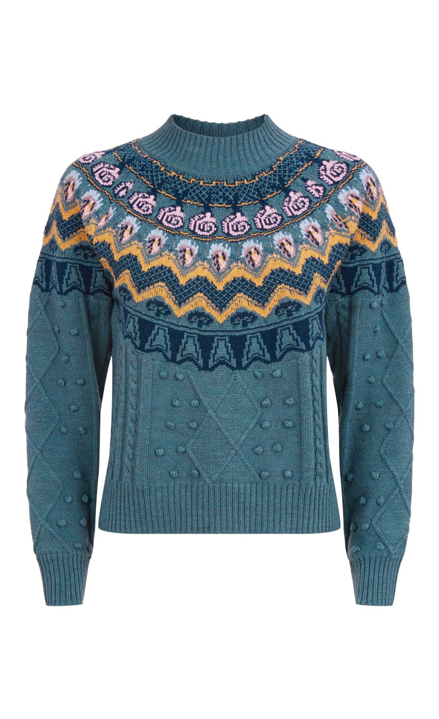 Cable Jacquard Jumper, Fern Mix