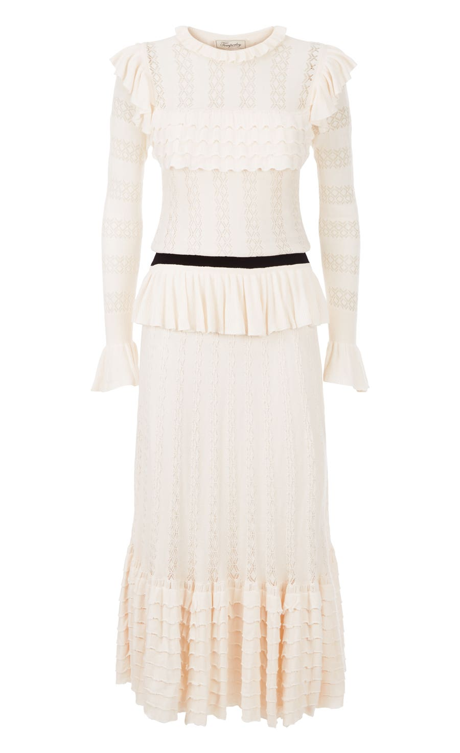 Cypre Pointelle Frill Dress, Almond