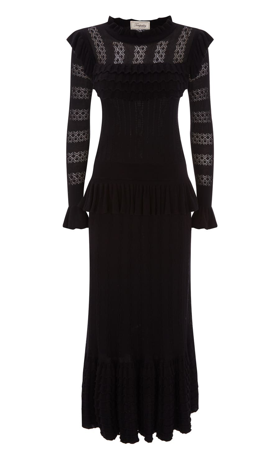 Cypre Pointelle Frill Dress, Black