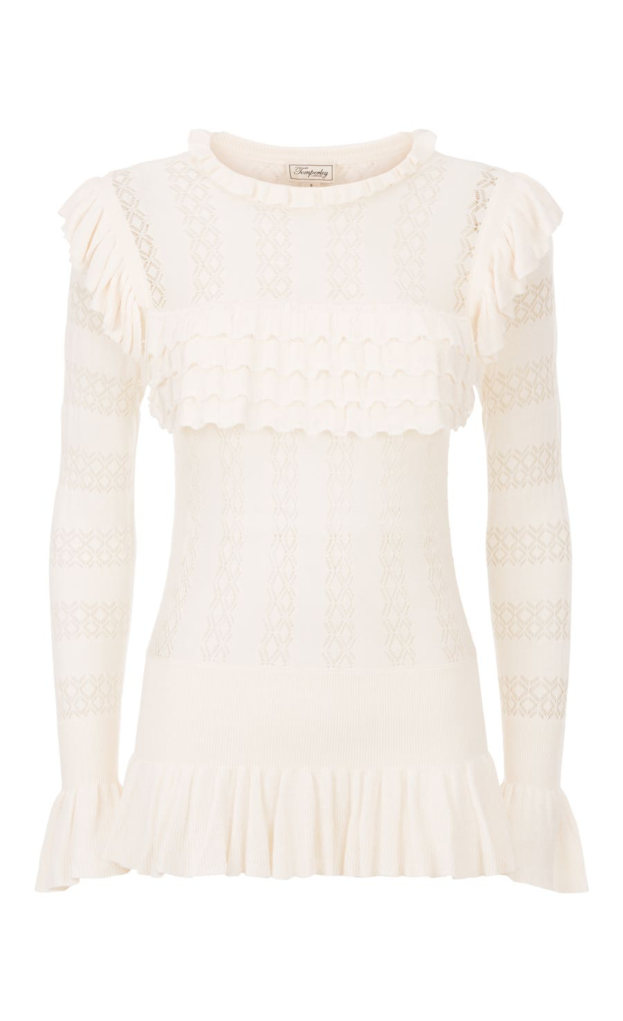 Cypre Pointelle Frill Top, Almond
