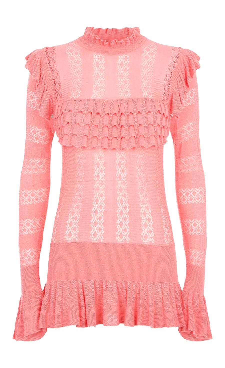 Cypre Pointelle Frill Top, Cameo Pink