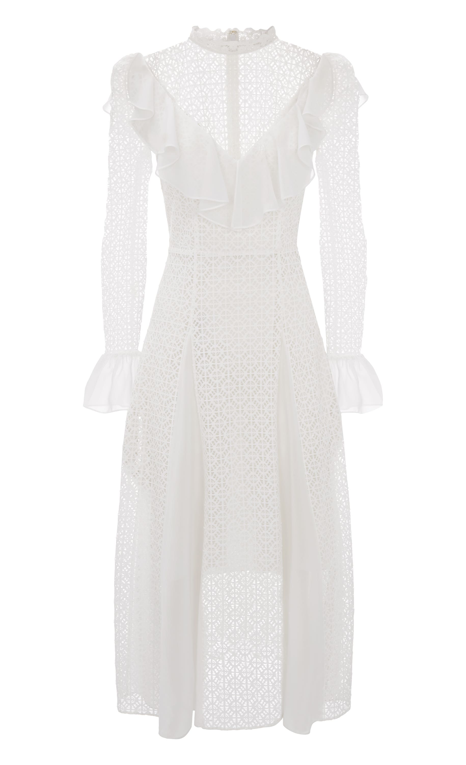 Prairie Lace Ruffle Dress, White