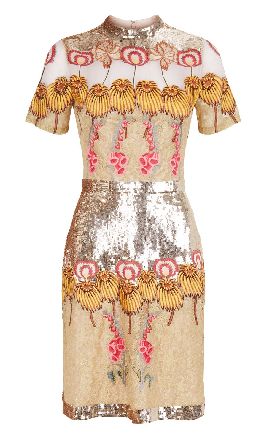Farewell Mini Dress, Gold Mix