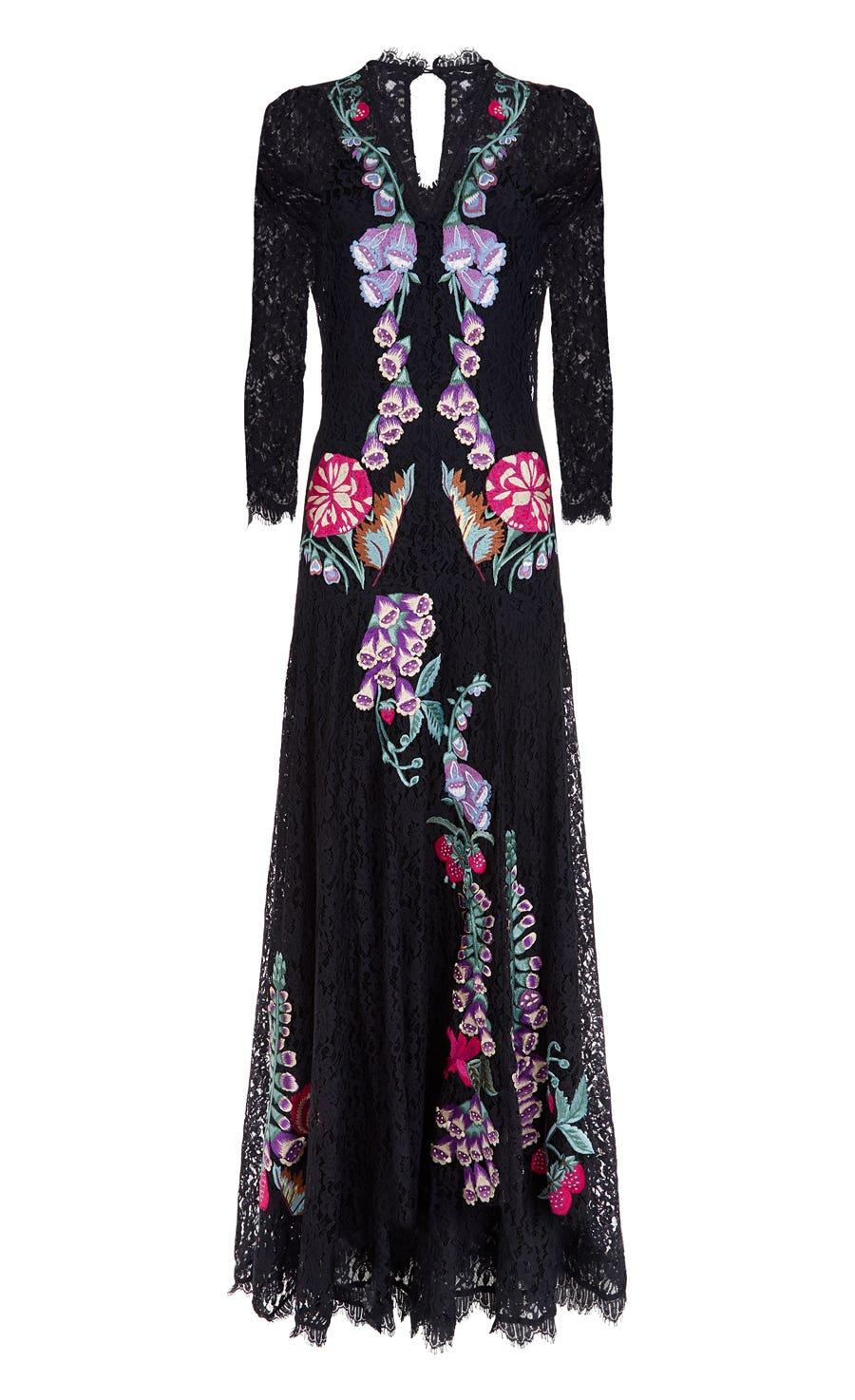 Farewell Long Dress, Black Mix