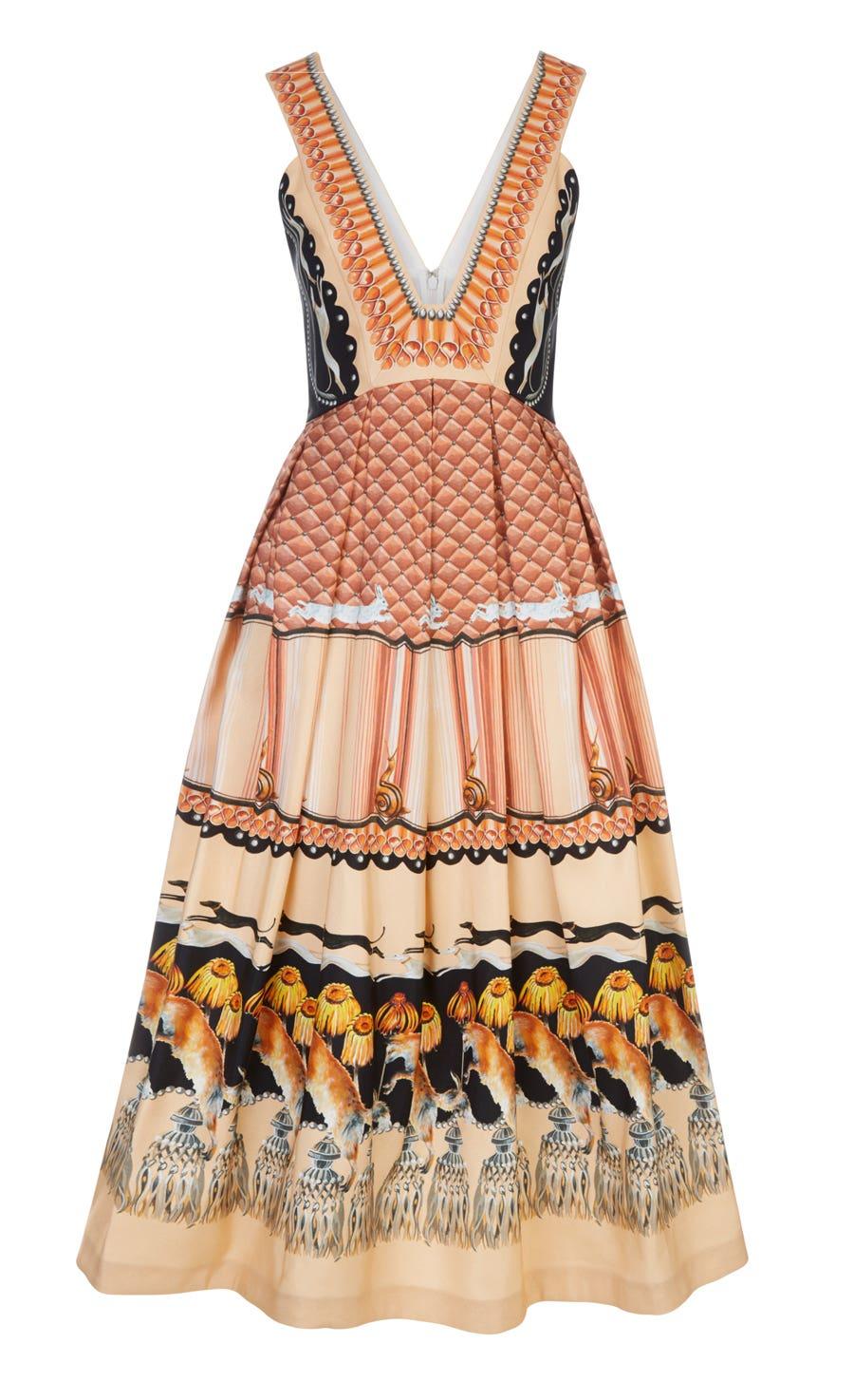 Foxglove Printed Dress, Rust Mix