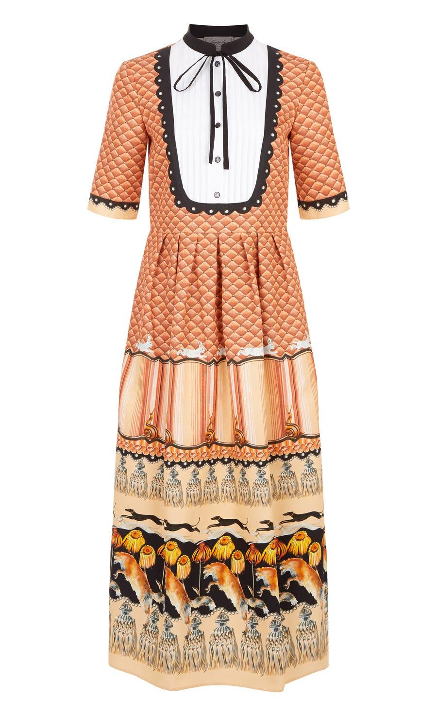 Foxglove Printed Shirt Dress, Rust Mix