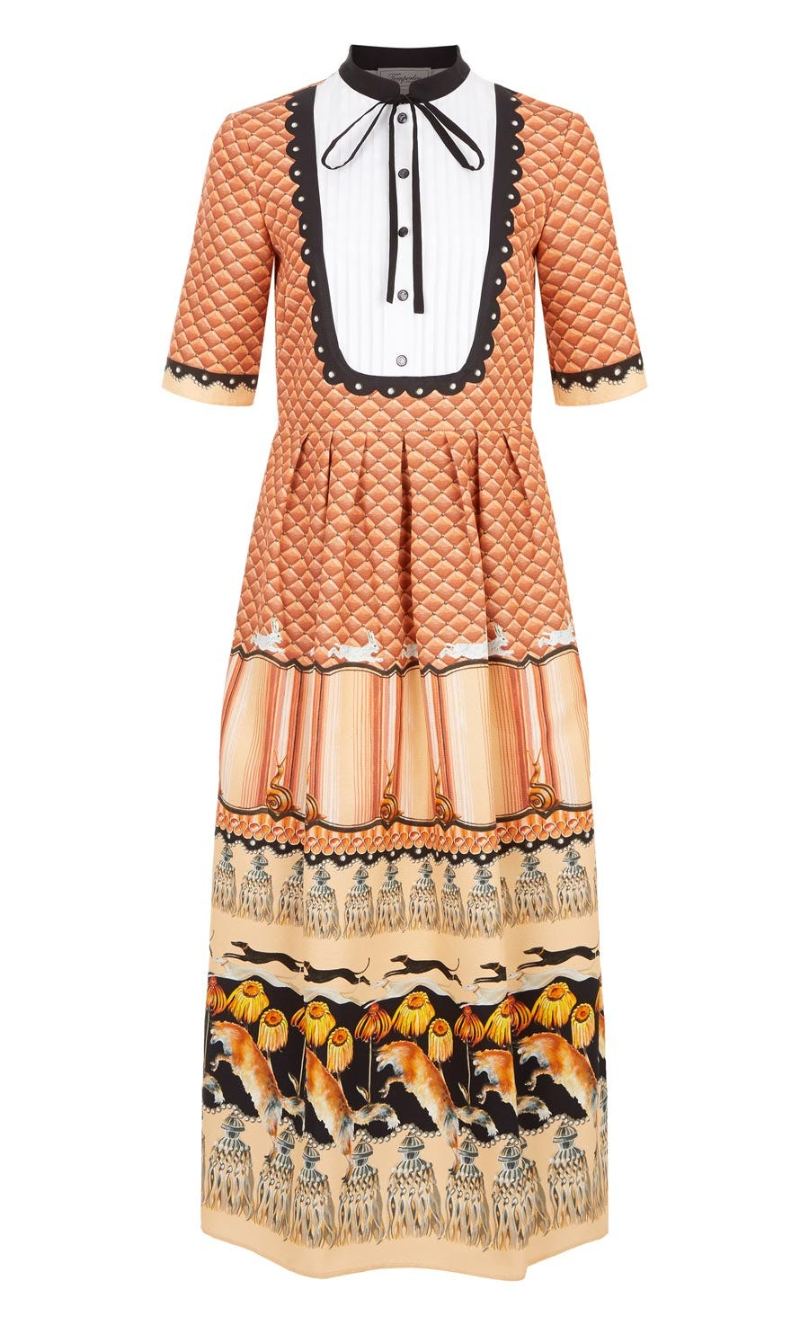 Foxglove Printed Shirt Dress, Rust Mix