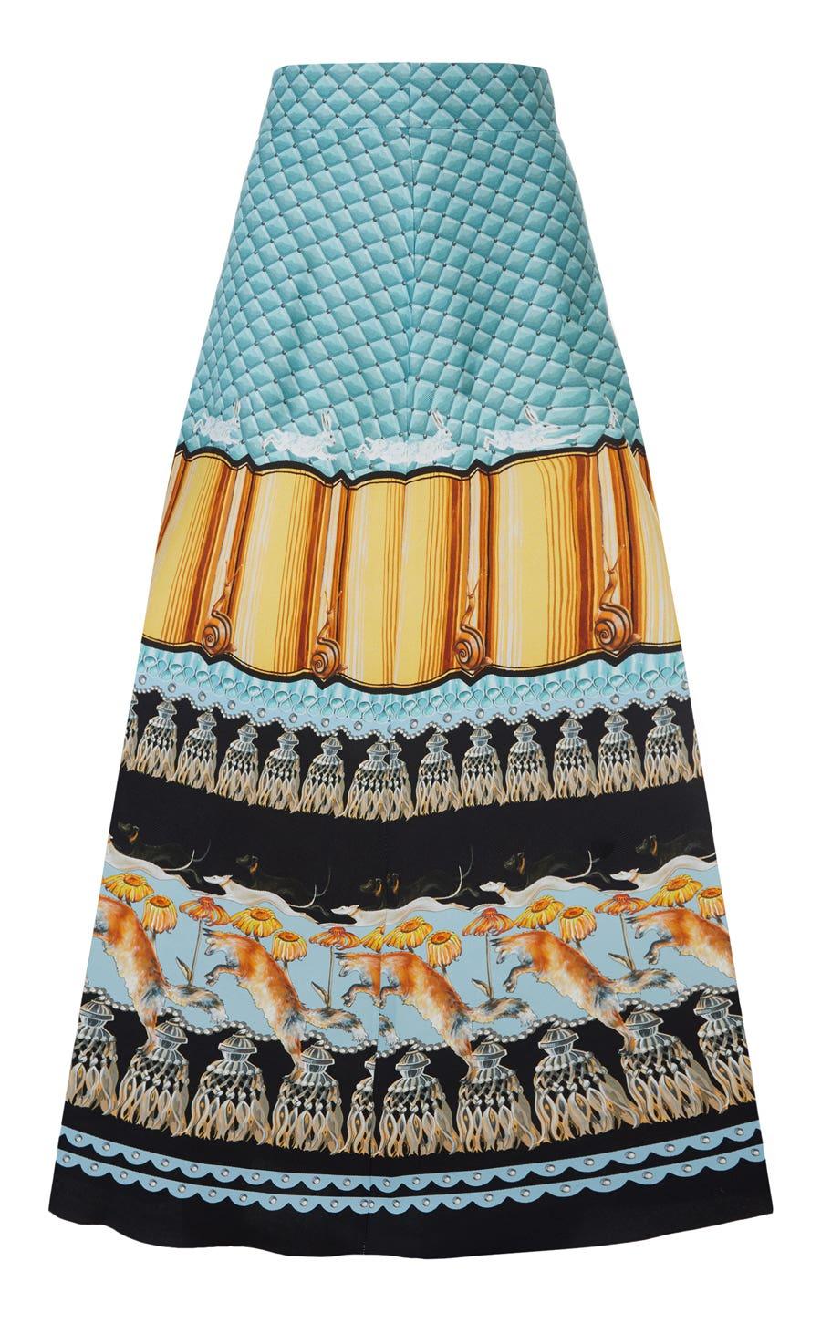 Foxglove Printed Midi Skirt, Fern Mix