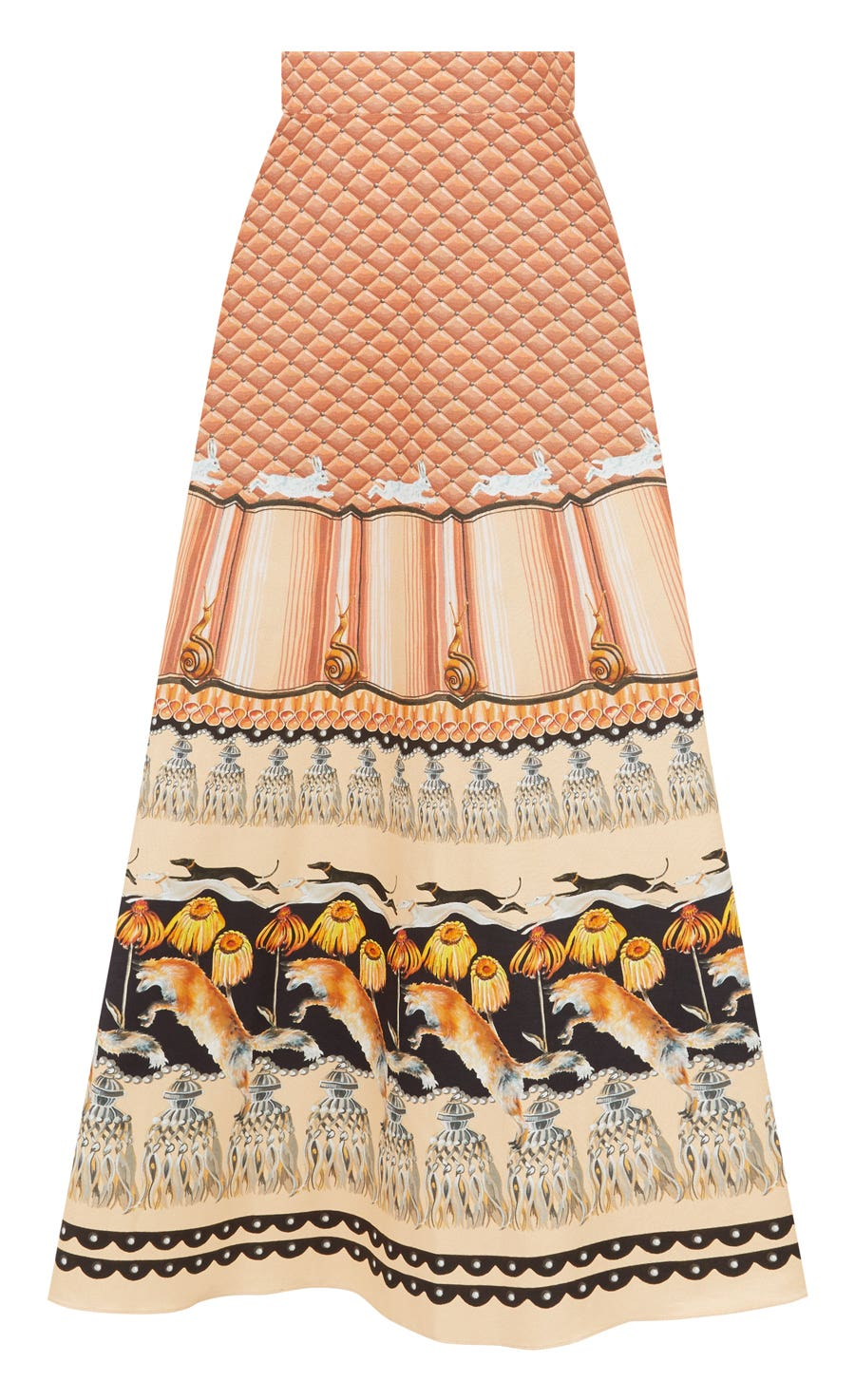 Foxglove Printed Midi Skirt, Rust Mix