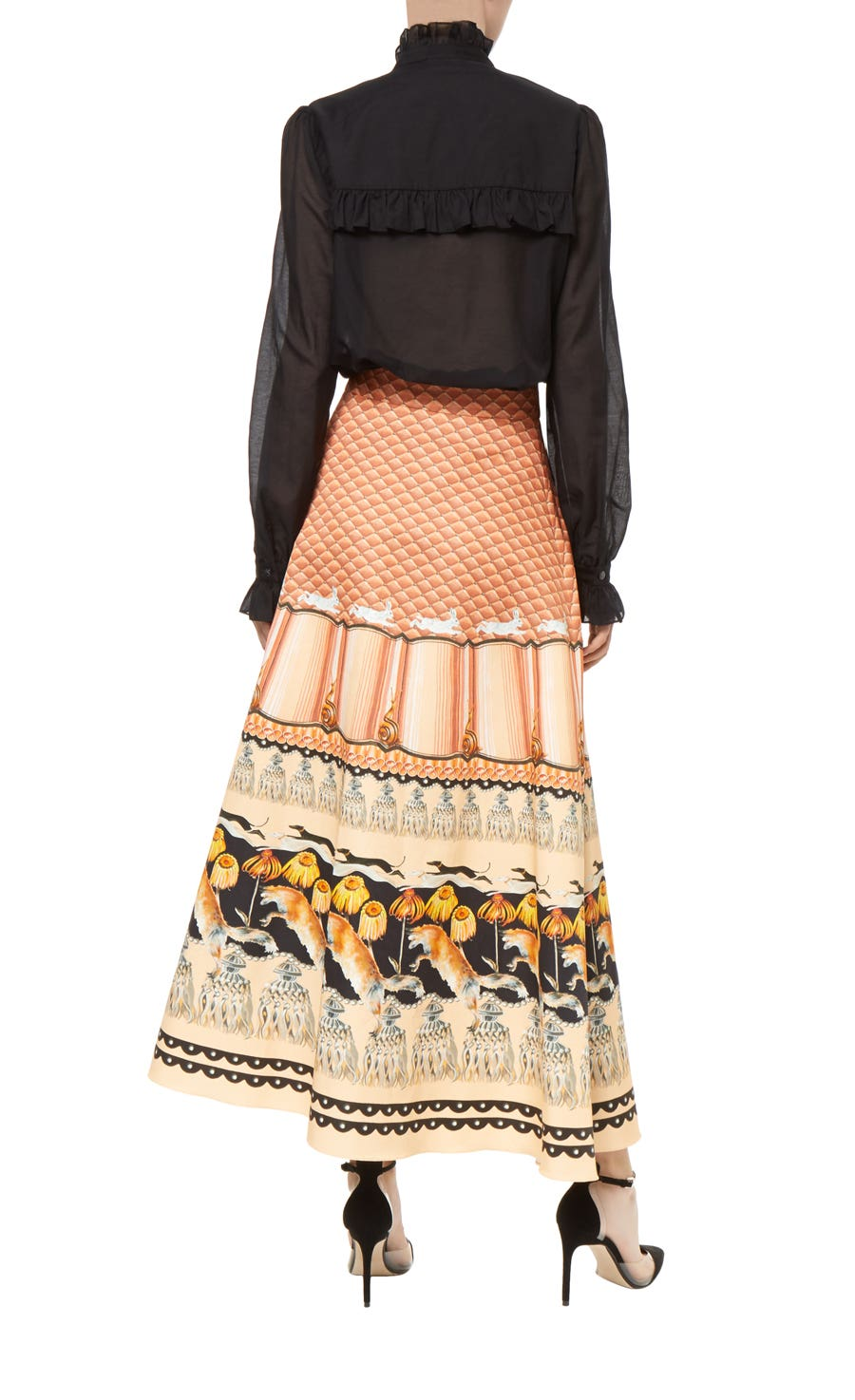 foxglove printed midi skirt