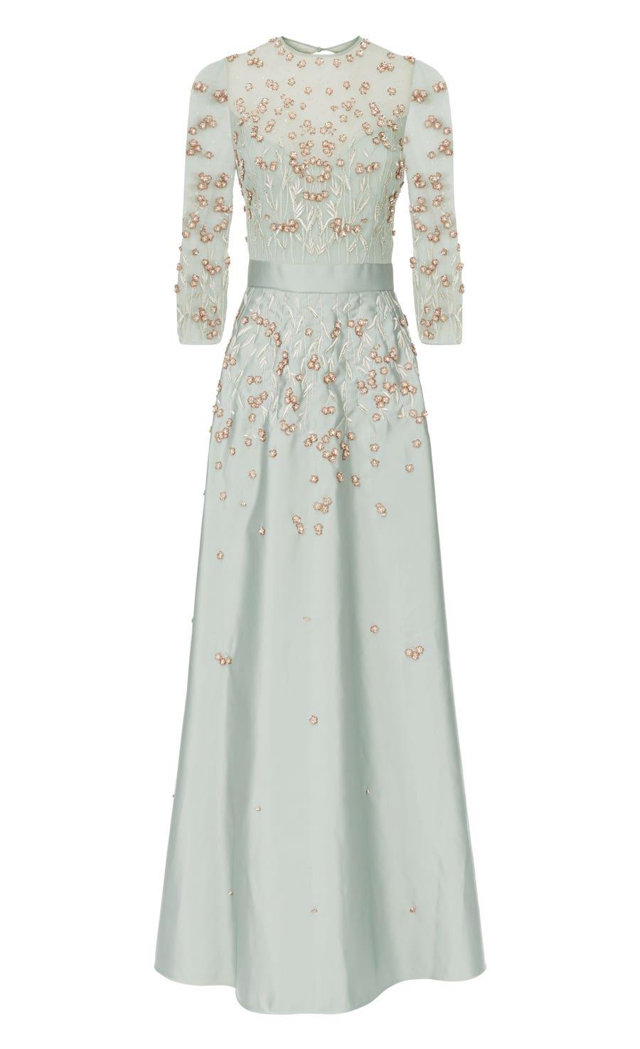 Glen Sleeved Dress, Duck Egg