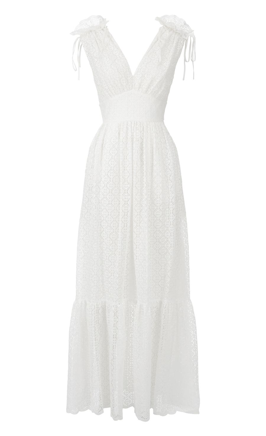 Prairie Lace Long Dress, White