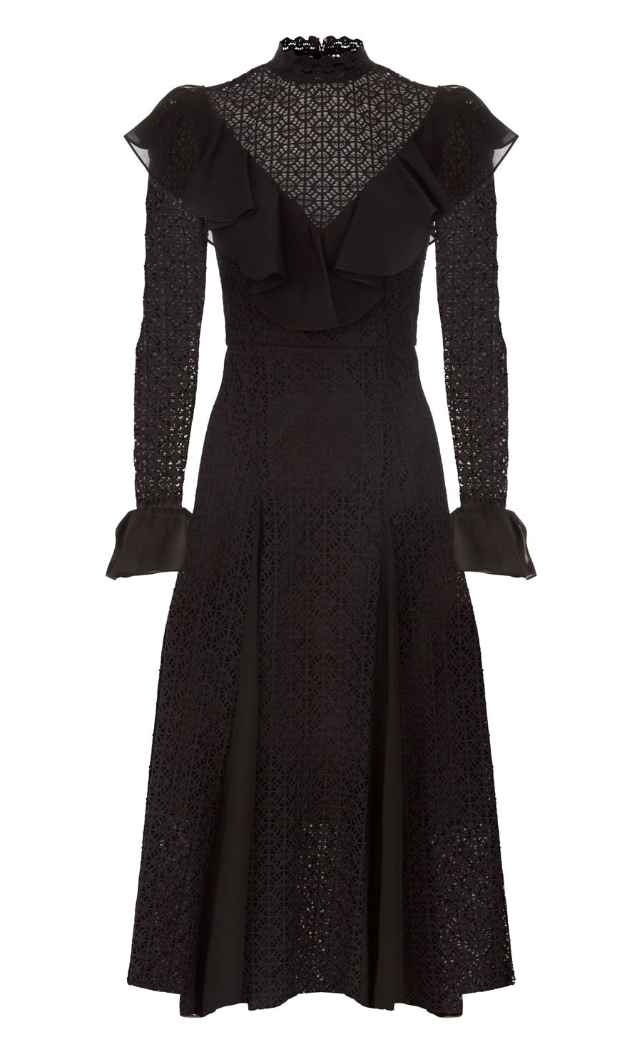 Prairie Lace Ruffle Dress, Black