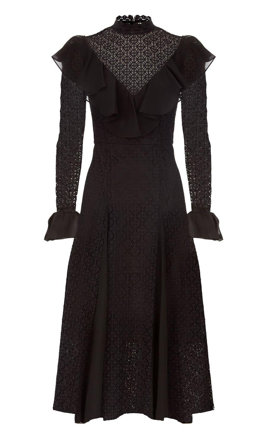 Prairie Lace Ruffle Dress, Black