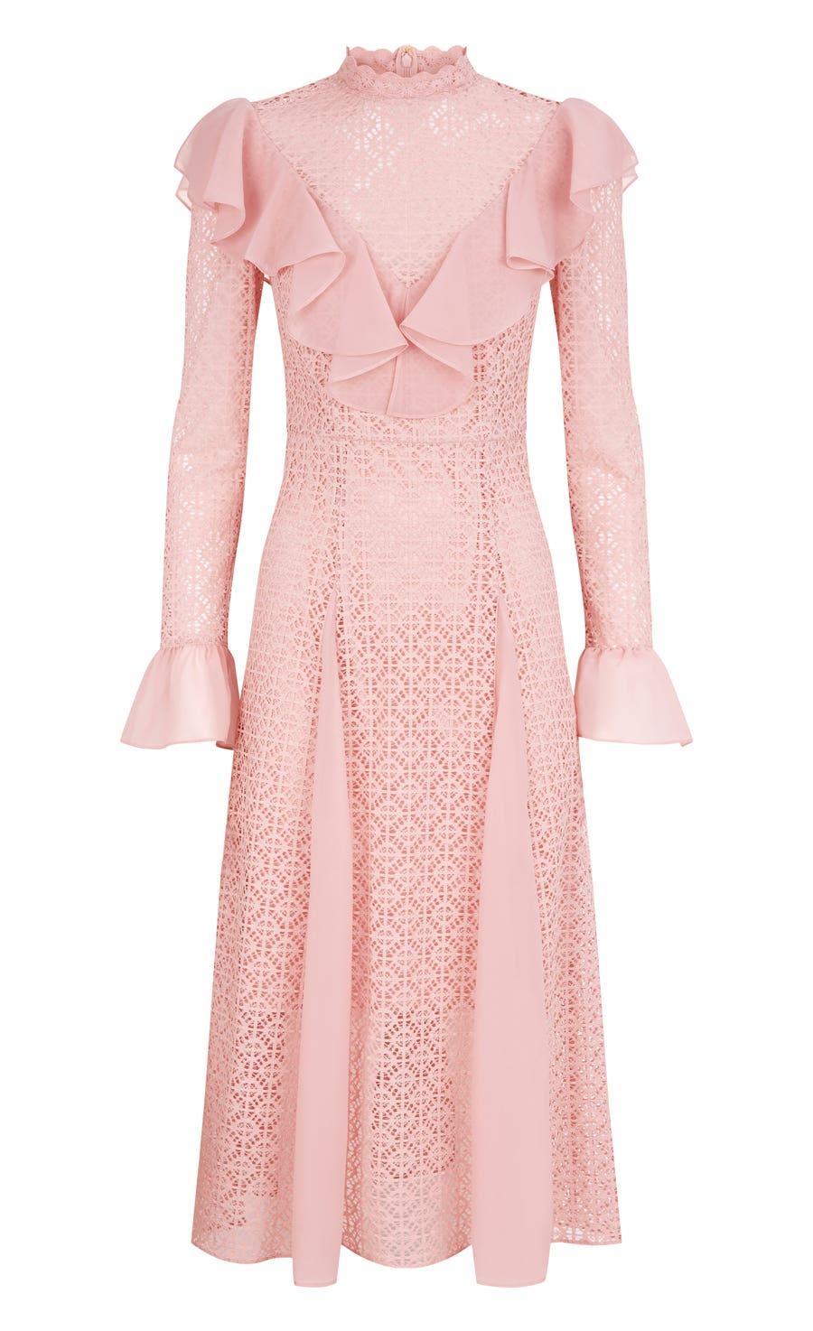 Prairie Lace Ruffle Dress, Rose