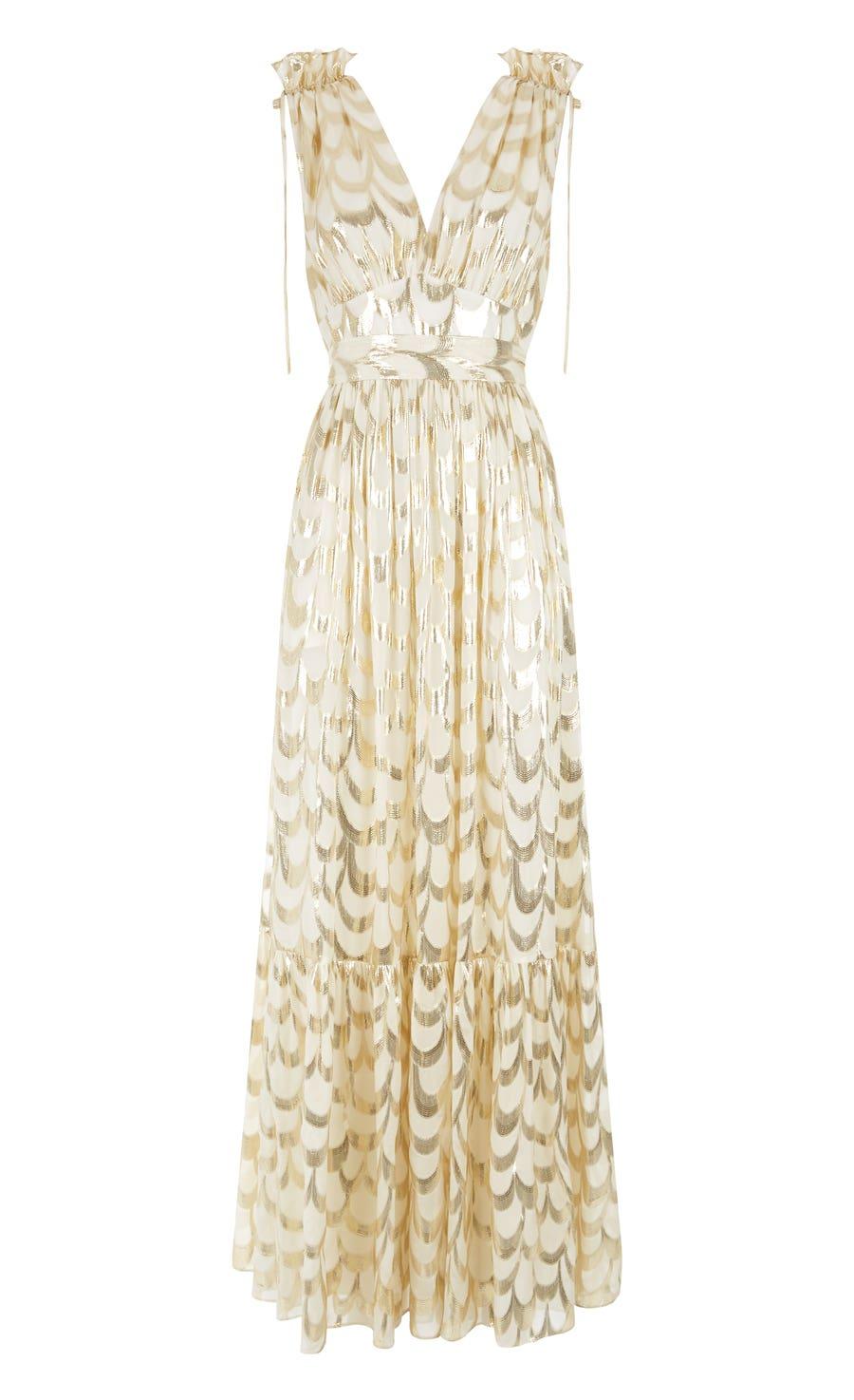 Rider V-neck Dress, Ivory