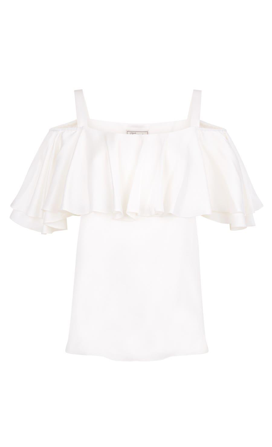 Seabright Shoulder Blouse, White