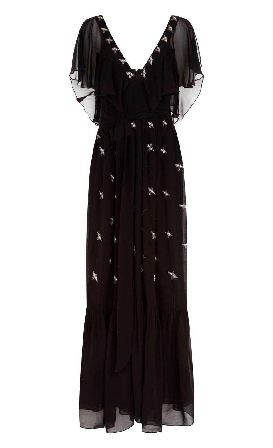 Starling V-neck Dress, Black