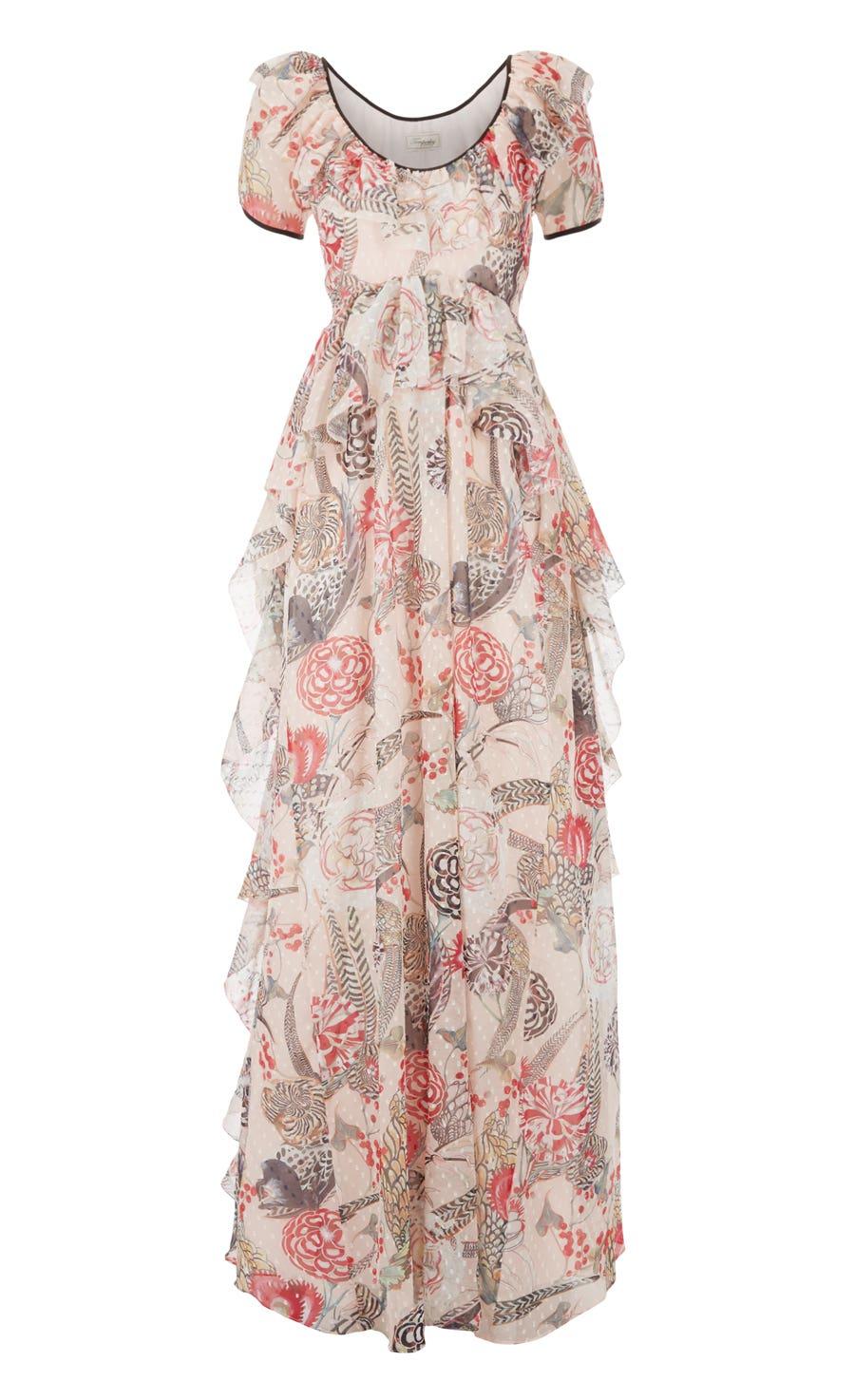 Shire Printed Long Dress, Almond Mix