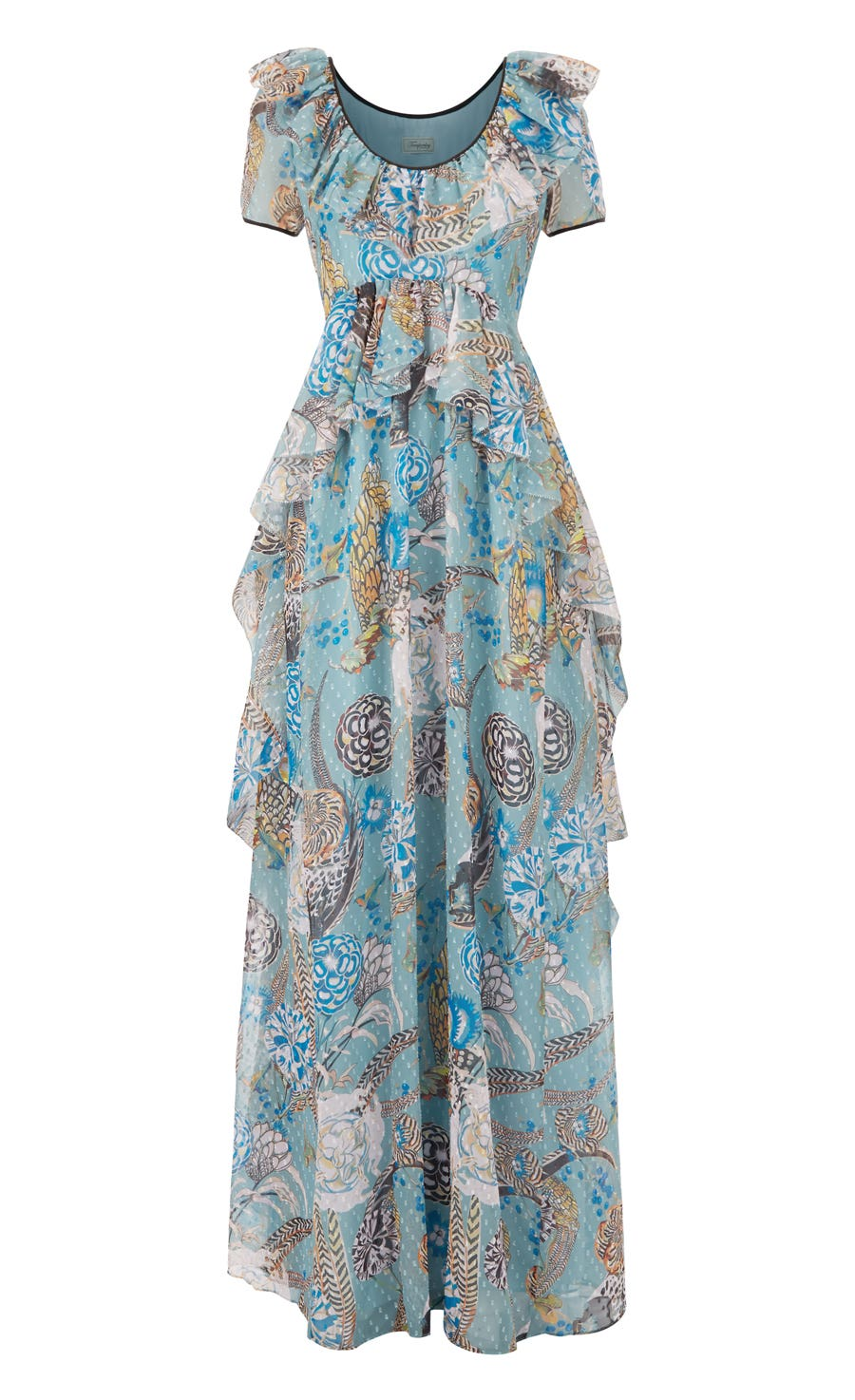 Shire Printed Long Dress, Blue Mix