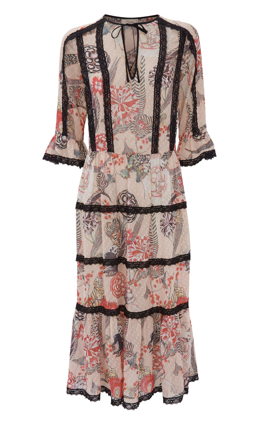Shire Printed Dress, Almond Mix