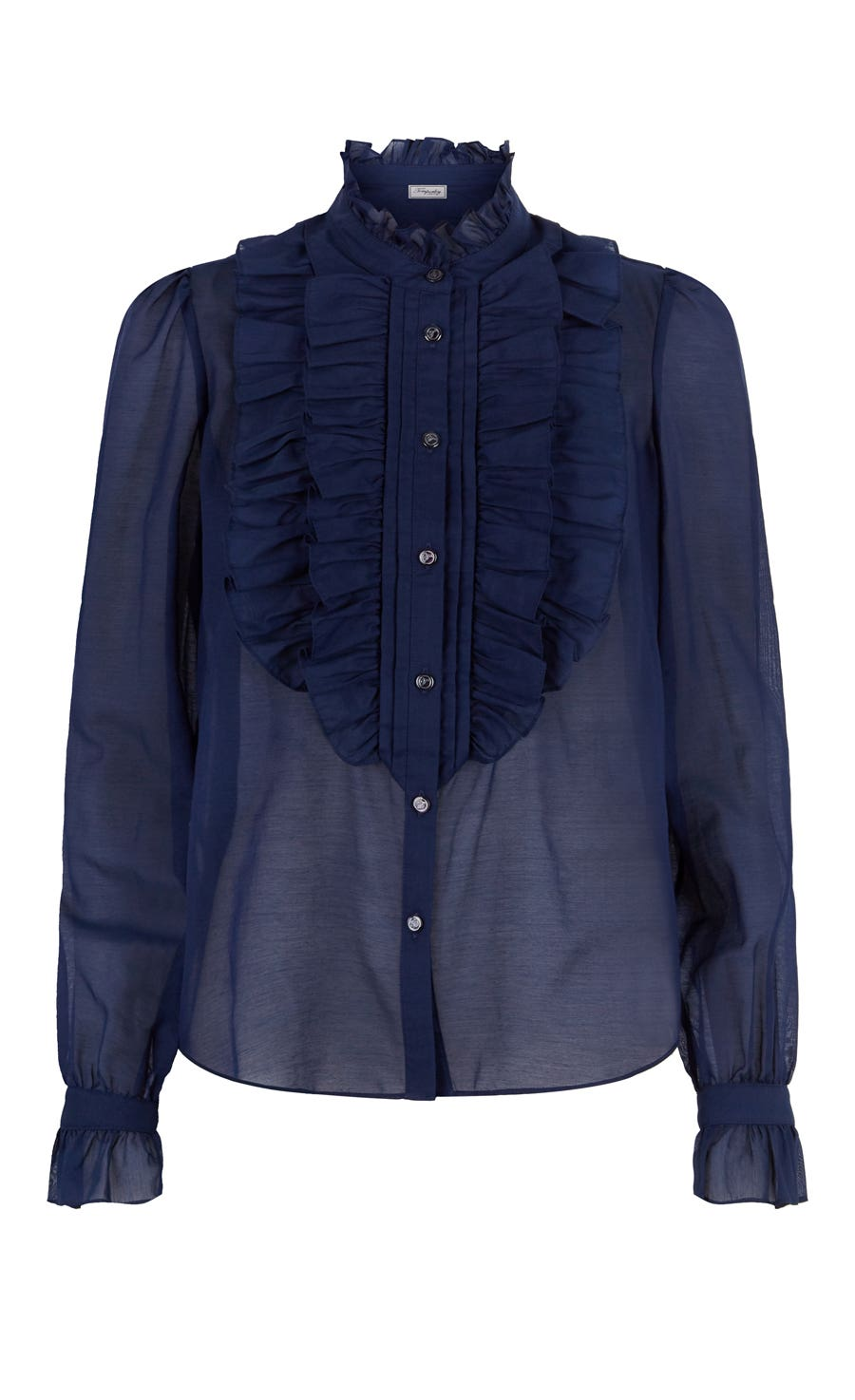 Strawberry Ruffle Shirt, Navy