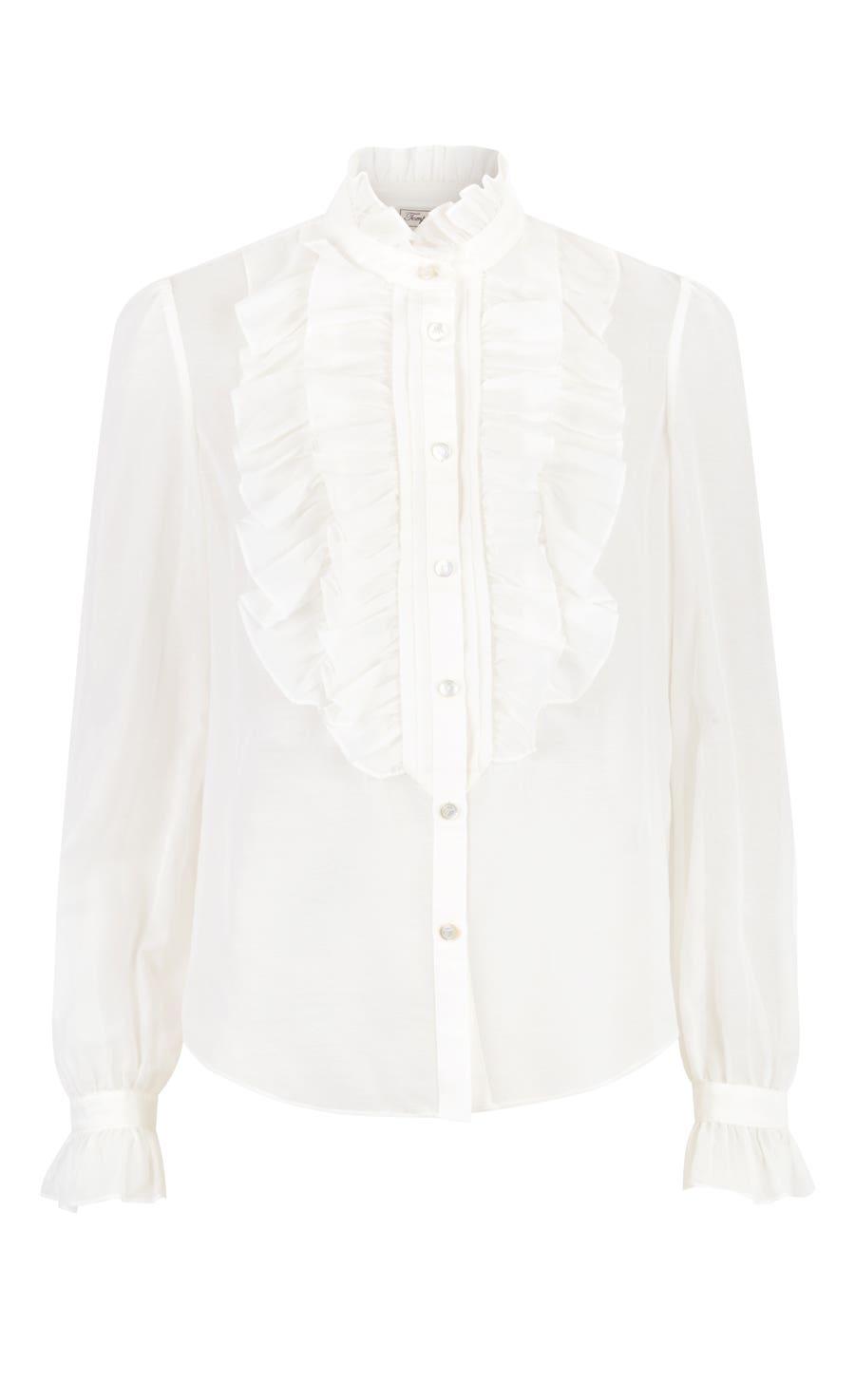 Strawberry Ruffle Shirt, White