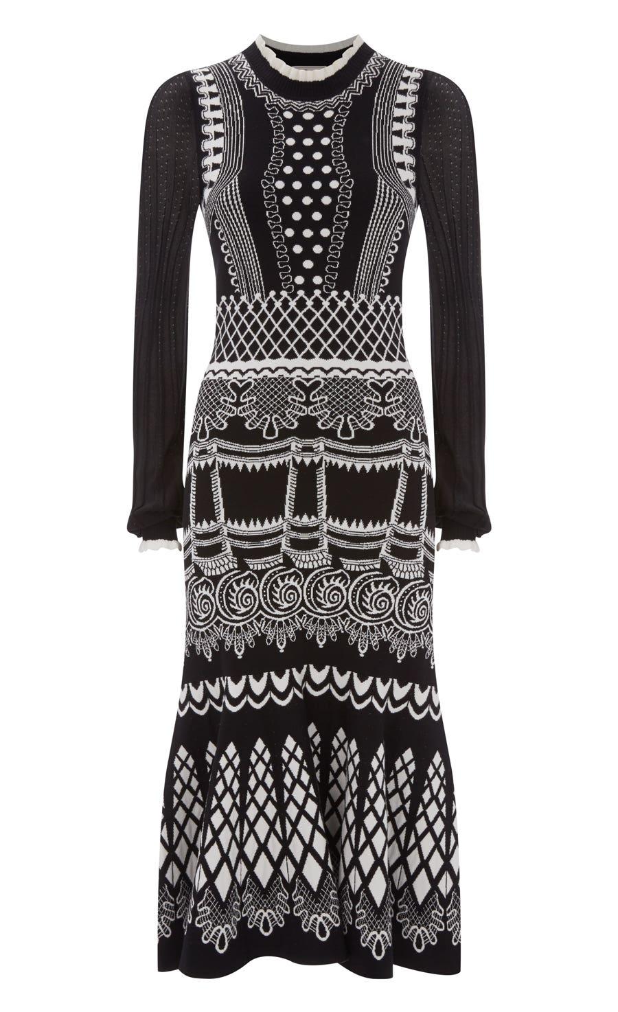 Silvermist Jacquard Knit Midi Dress, Black Mix