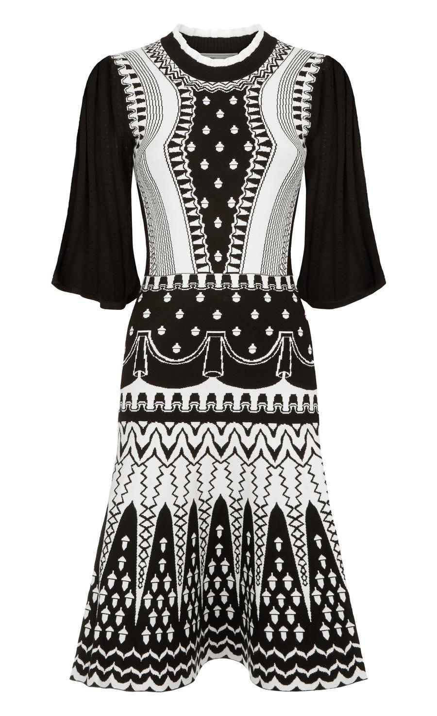 Silvermist Jacquard Knit Mini Dress, Black Mix