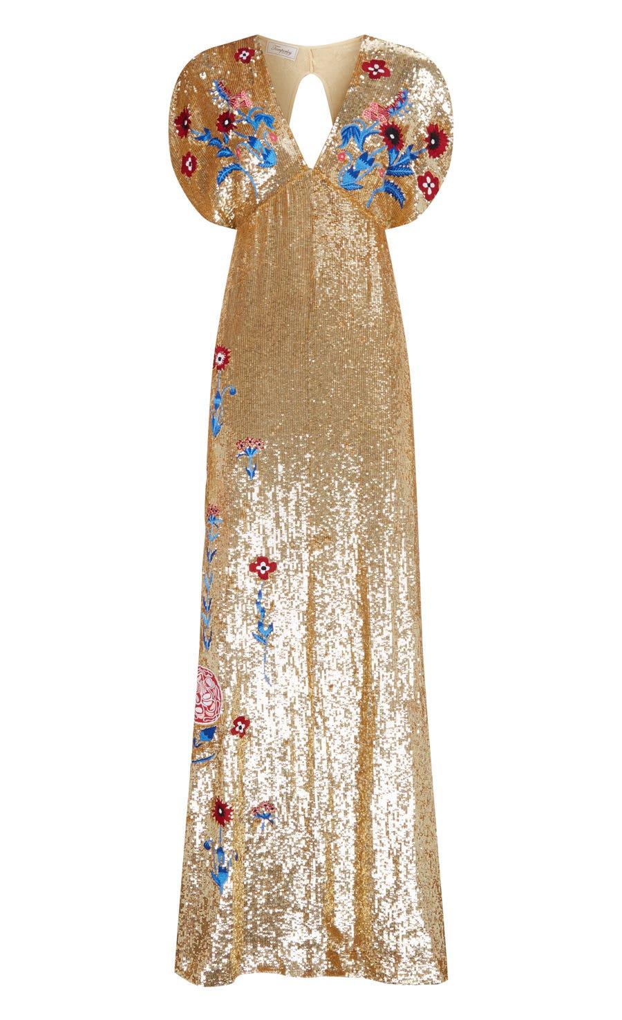 Wild Horse Long Dress, Gold Mix