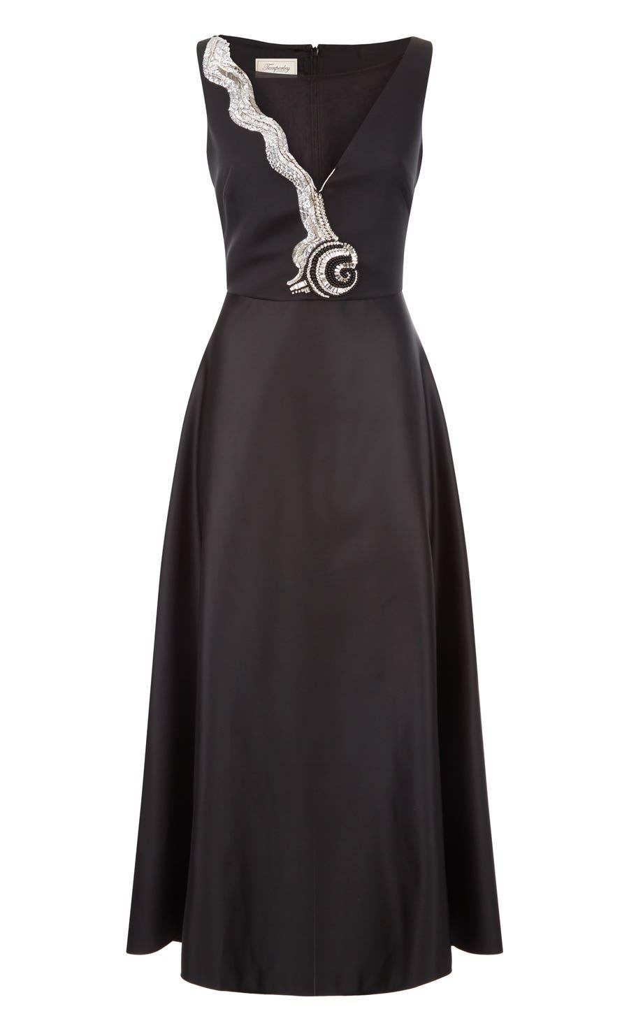 Waterlily Midi Dress, Black