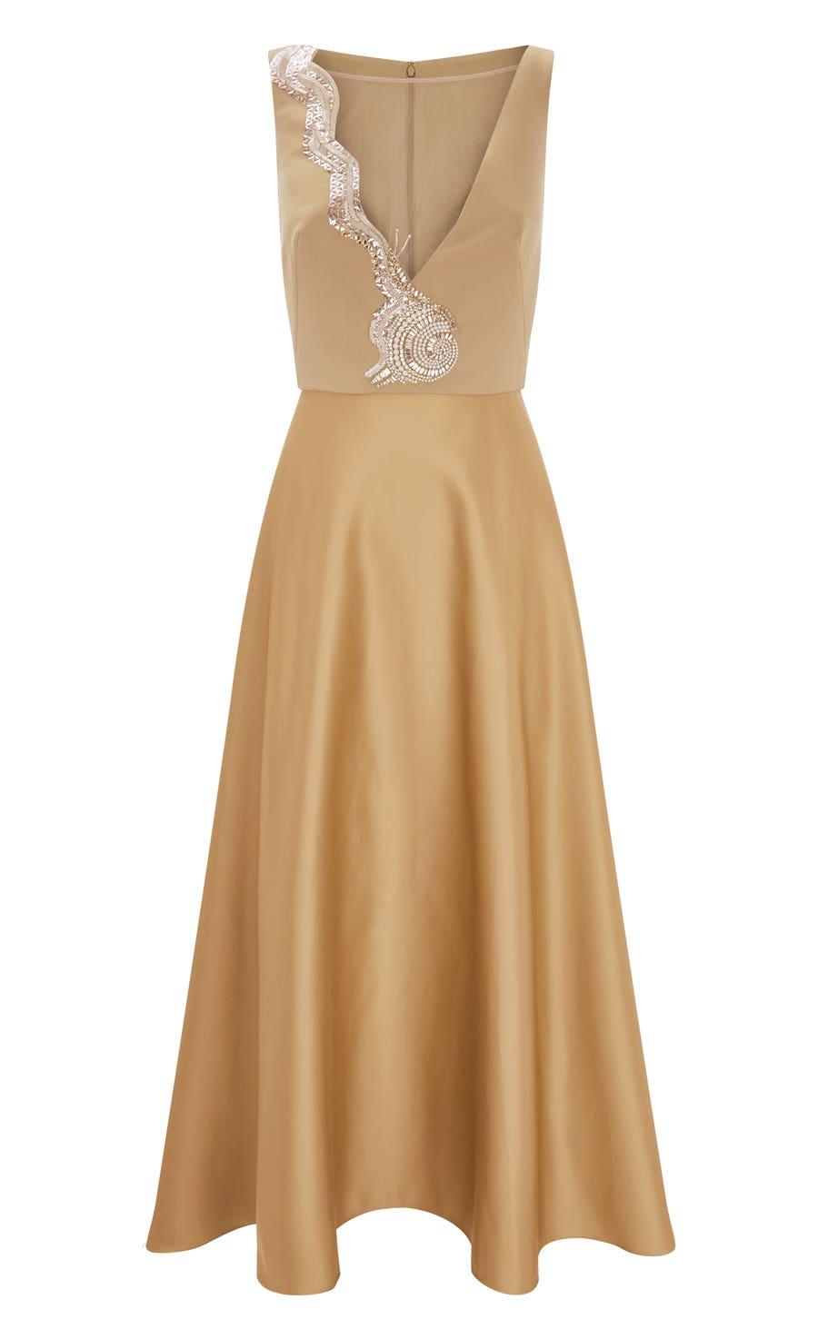 Waterlily Midi Dress, Gold