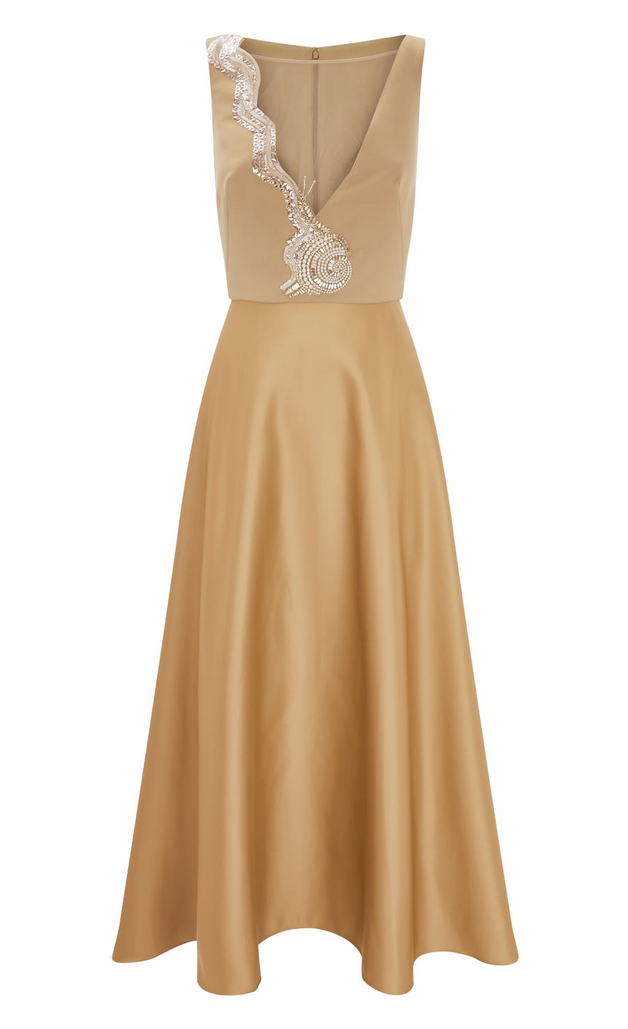 Waterlily Midi Dress, Gold