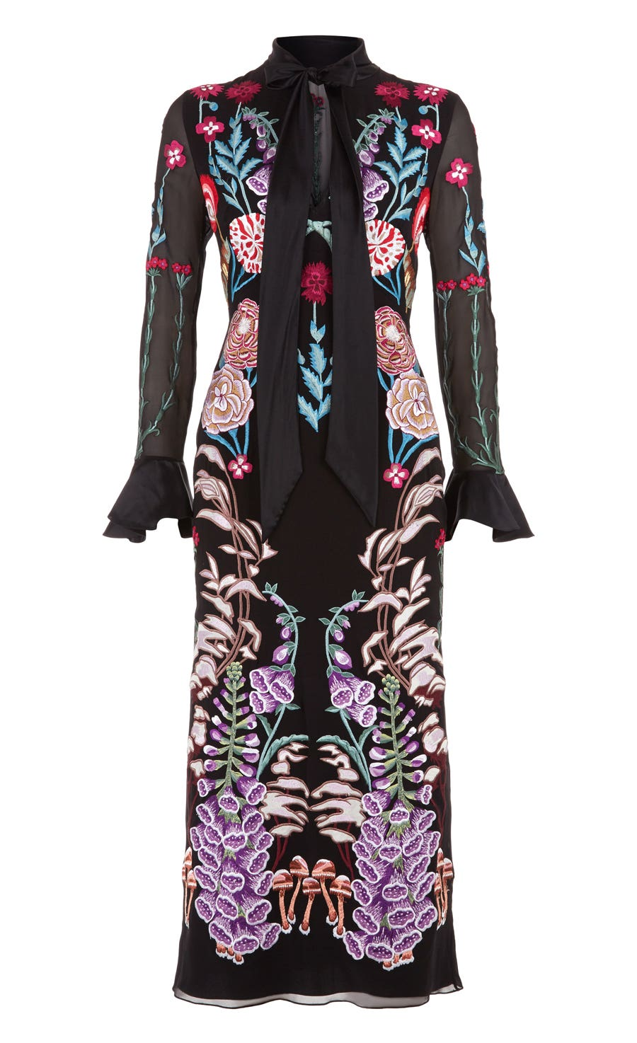 Woodland Tie Dress, Black Mix