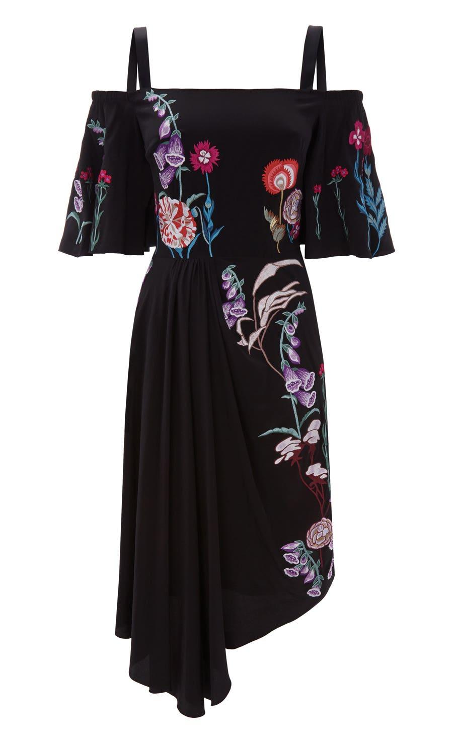 Woodland Midi Dress, Black Mix