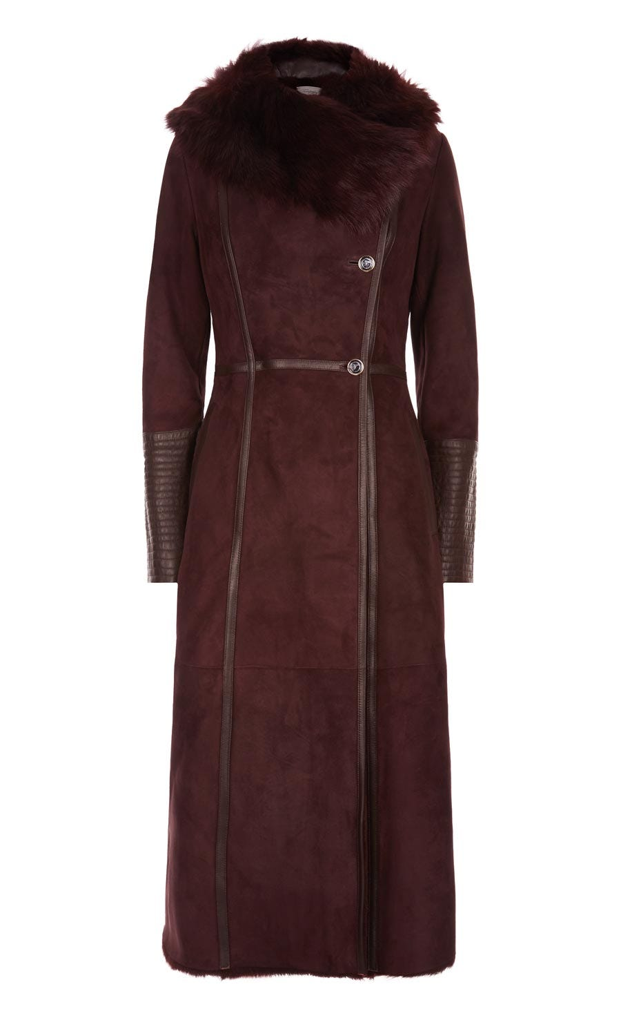 Arctic Sheepskin Fitted Coat, Aubergine