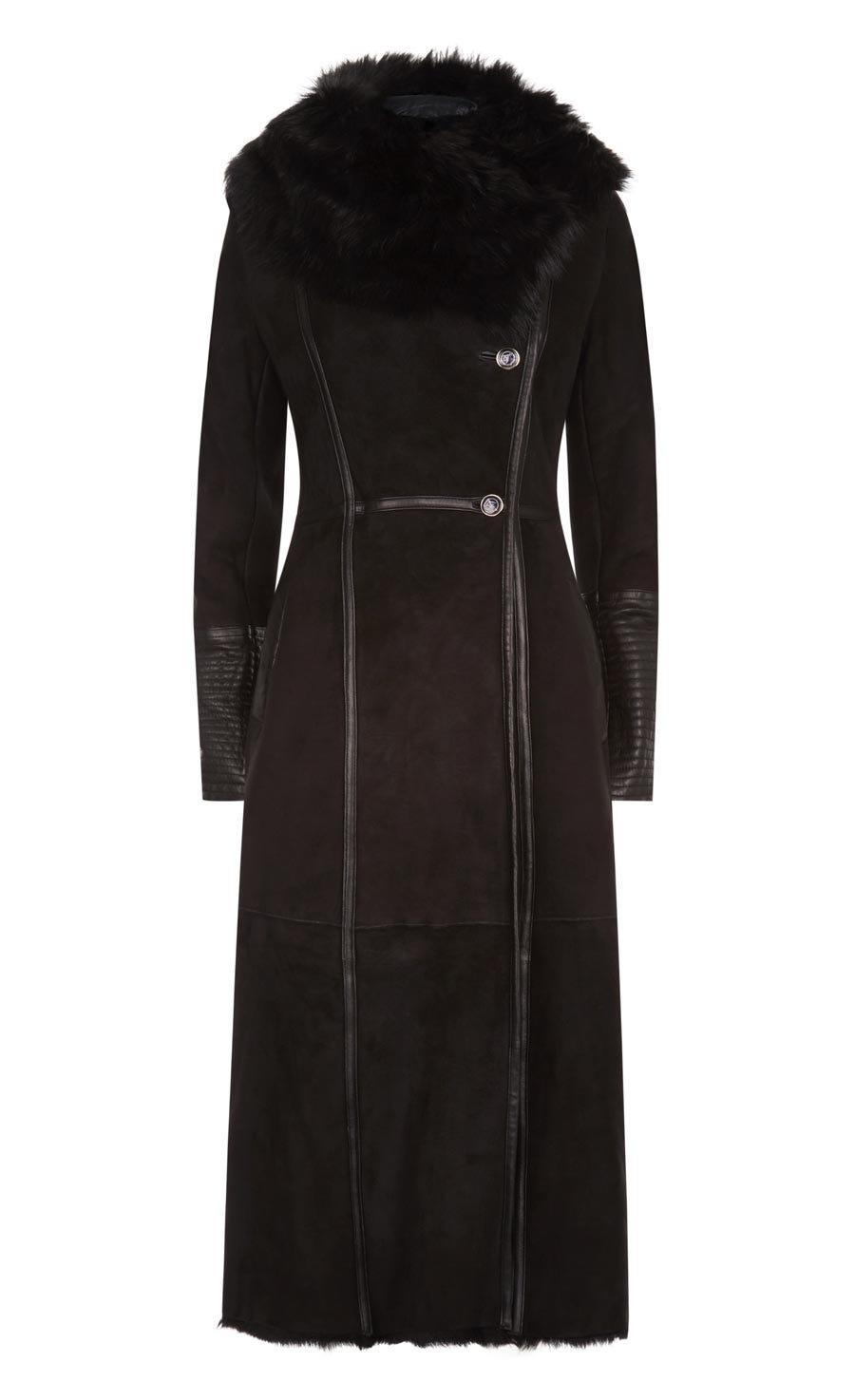 Arctic Sheepskin Fitted Coat, Black