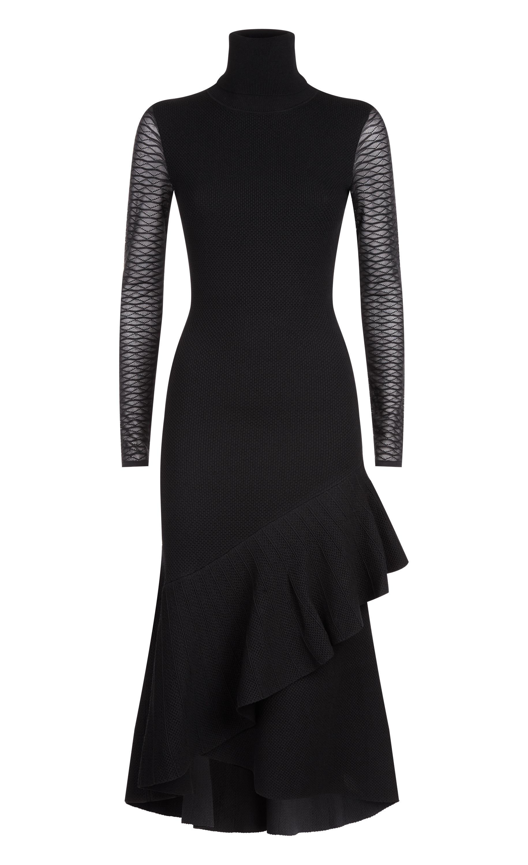 Brise Roll Neck Dress, Black