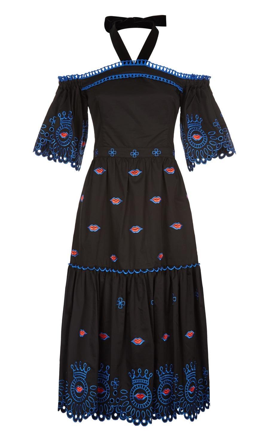 Calligraphy Off Shoulder Dress, Black Mix