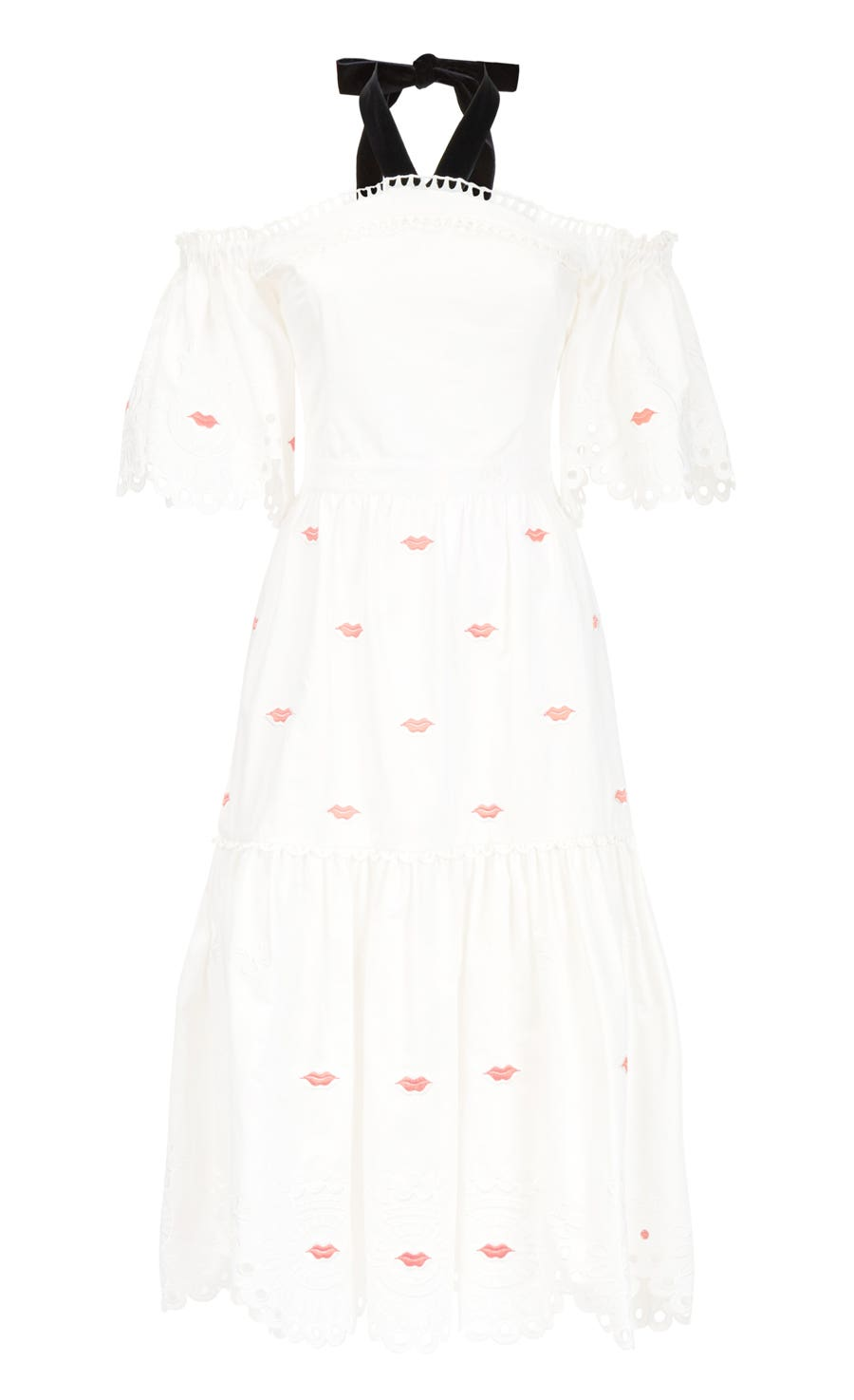 Calligraphy Off Shoulder Dress, White Mix