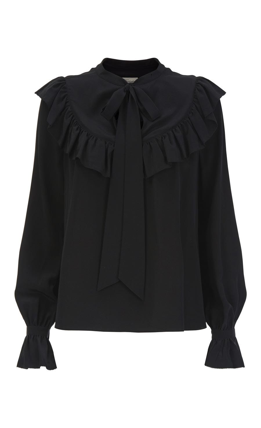 Costume Silk Ruffle Blouse, Black