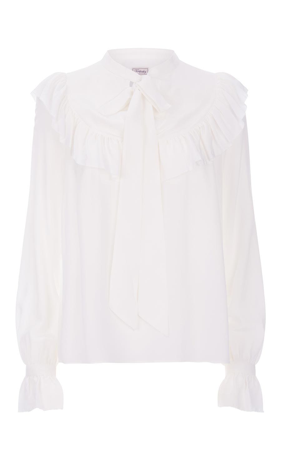 Costume Silk Ruffle Blouse, White