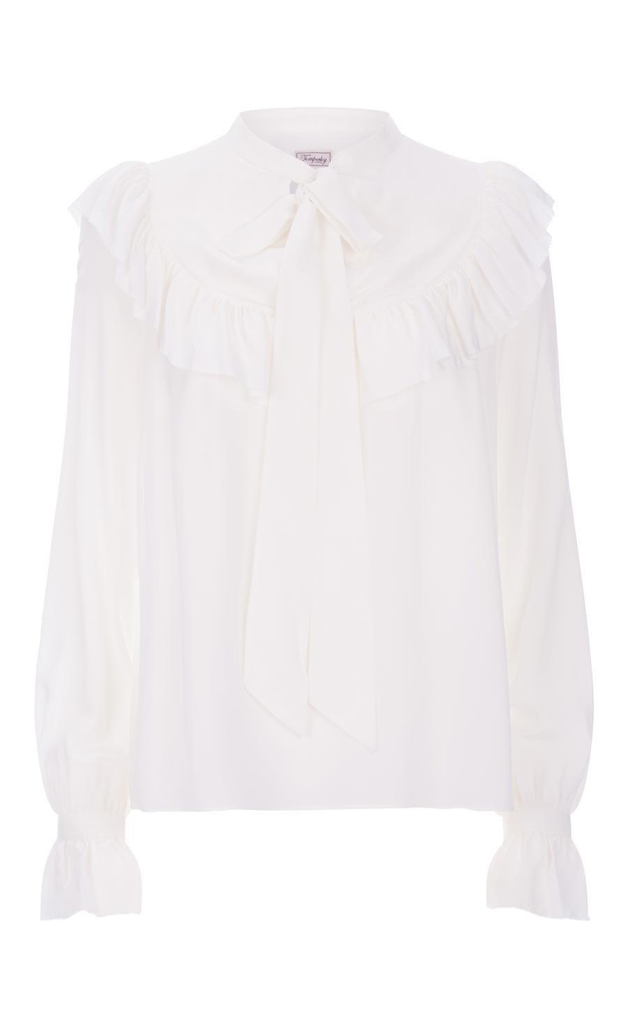 Costume Silk Ruffle Blouse, White