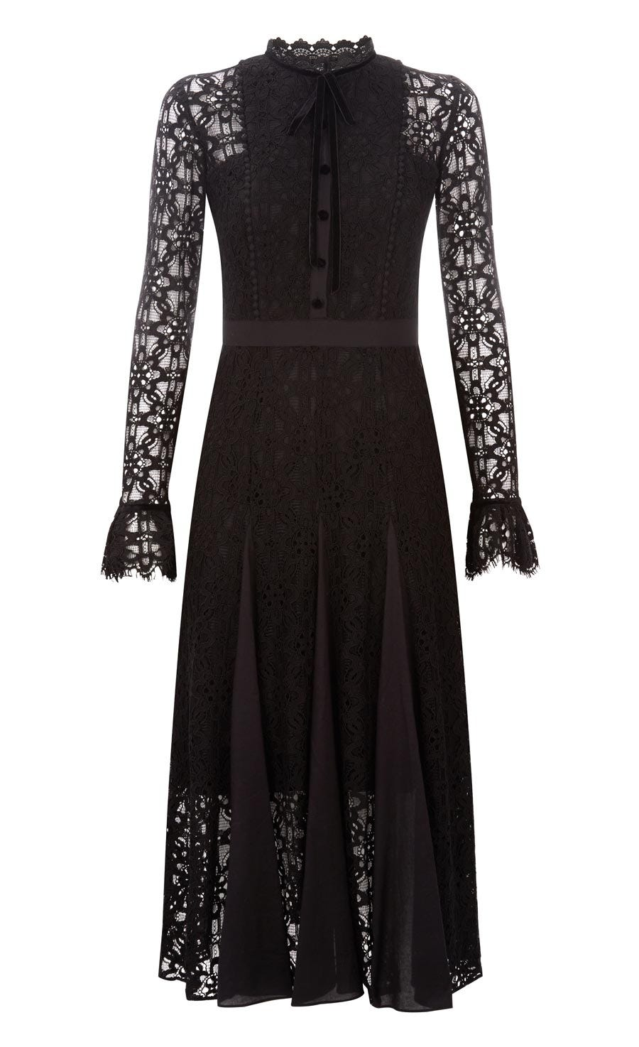 Eclipse Lace Collar Dress, Black