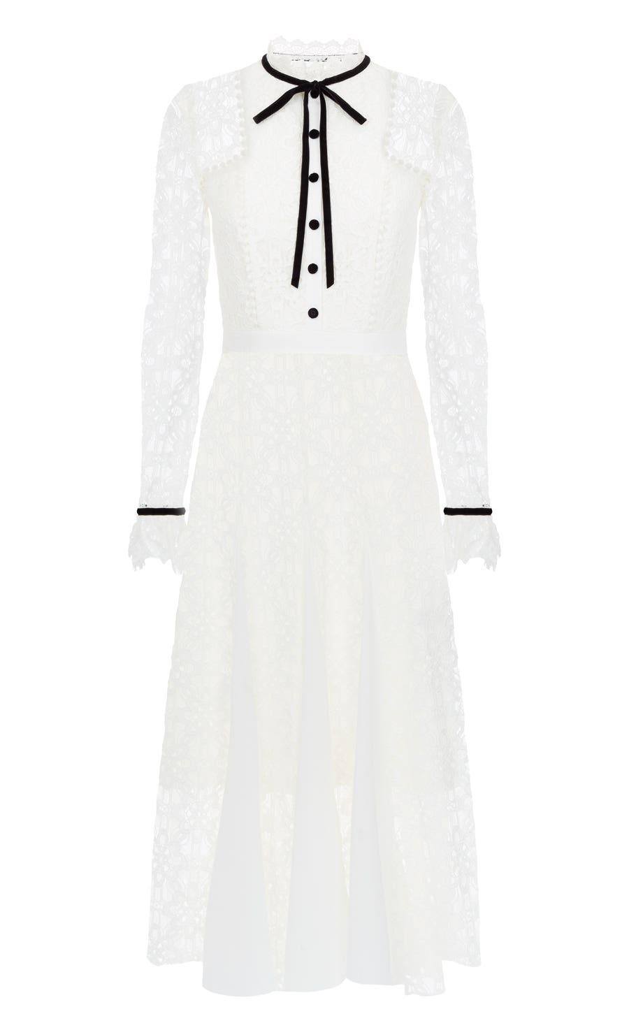 Eclipse Lace Collar Dress, White