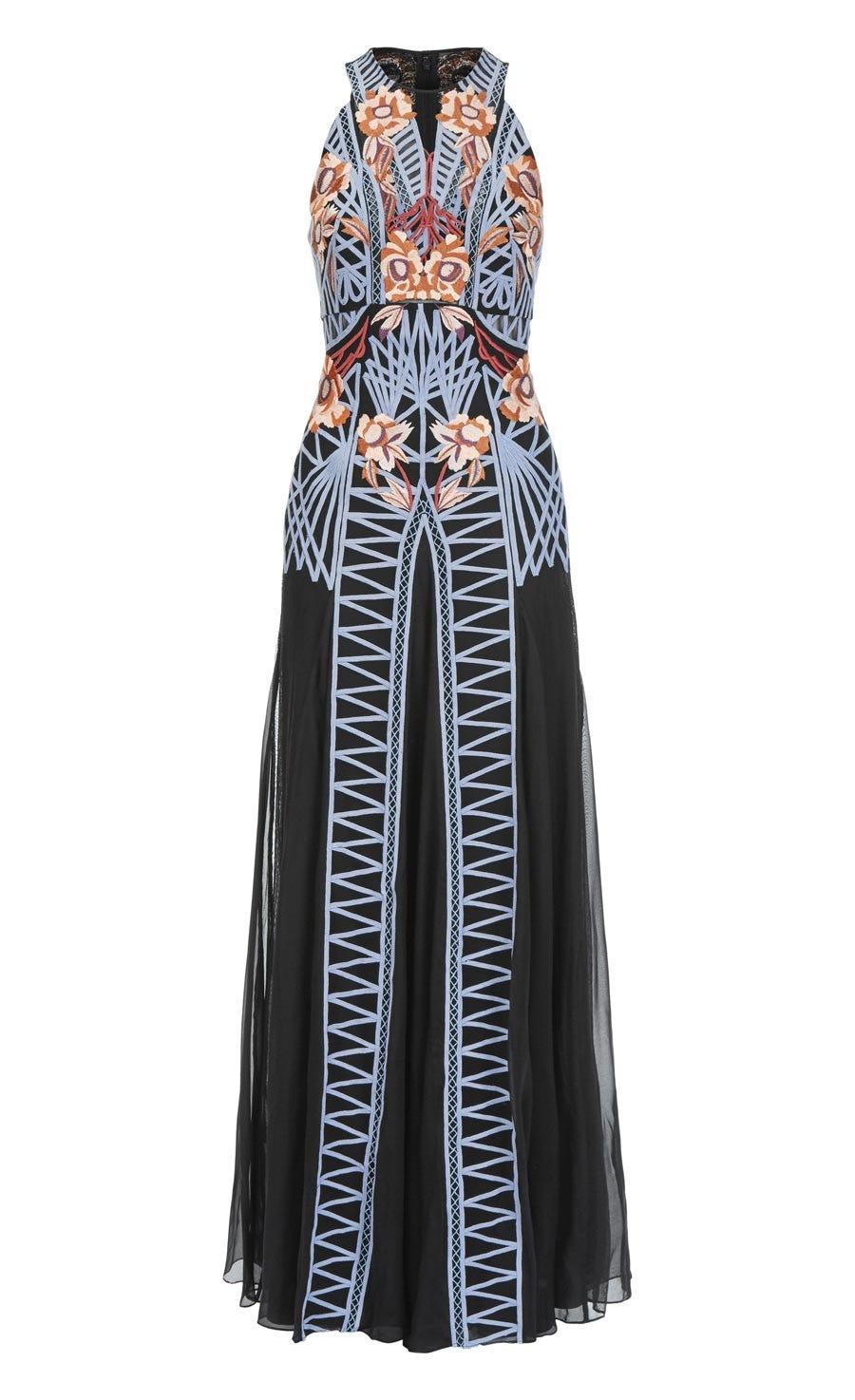 Empress Long Dress, Black Mix