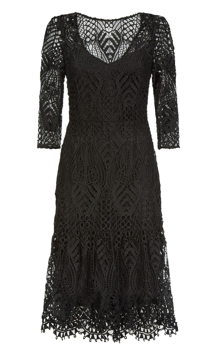 New Moon Fitted Dress, Black